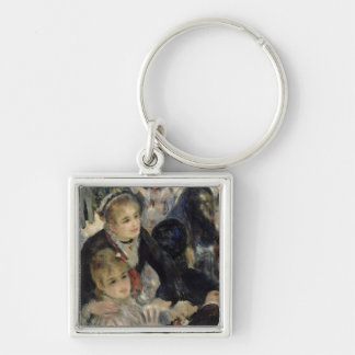 Ball at the Moulin de la Galette, detail of two se Silver-Colored Square Keychain