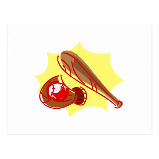 ball bat glove postcard