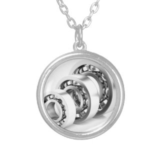 Ball bearings silver plated necklace