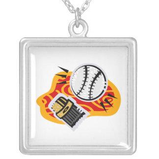 ball brush square pendant necklace