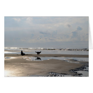 Ball Chasing Dog on the Beach Note Card