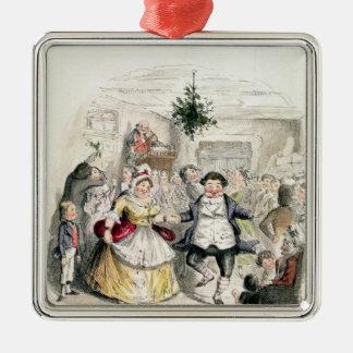 Ball de Sr. Fezziwig, del 'navidad Carol Adorno Cuadrado Plateado