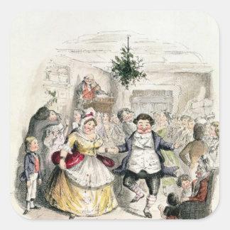 Ball de Sr. Fezziwig, del 'navidad Carol Calcomanía Cuadrada Personalizada