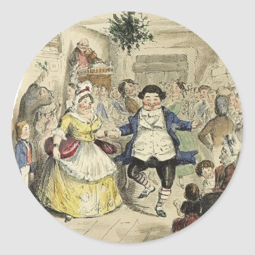 Ball de Sr. Fezziwig, un villancico del navidad Etiquetas Redondas