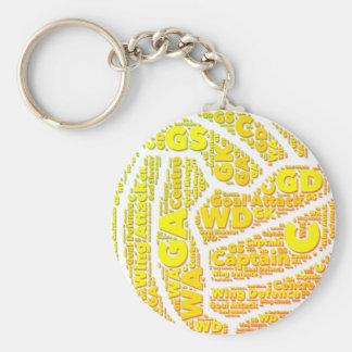 Ball Design Yellow Netball Keychain