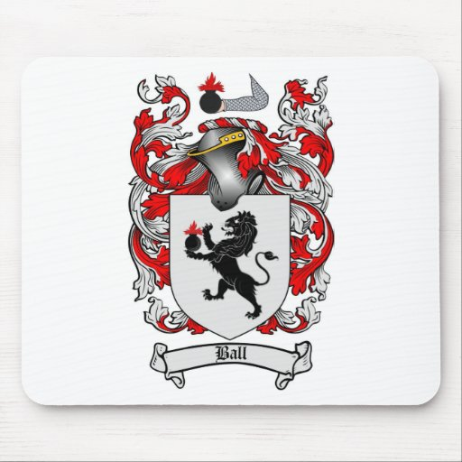 BALL FAMILY CREST -  BALL COAT OF ARMS MOUSE MAT