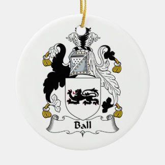 Ball Family Crest Double-Sided Ceramic Round Christmas Ornament