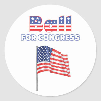 Ball for Congress Patriotic American Flag Round Sticker