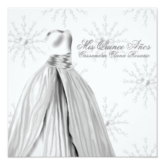 Ball Gown Dress White Snowflakes Quinceanera 5.25x5.25 Square Paper Invitation Card