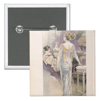 Ball gown, from 'Les Grandes Modes de Paris' Pinback Button