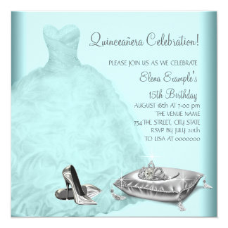 Ball Gown High Heel Shoes Teal Blue Quinceanera Personalized Invite