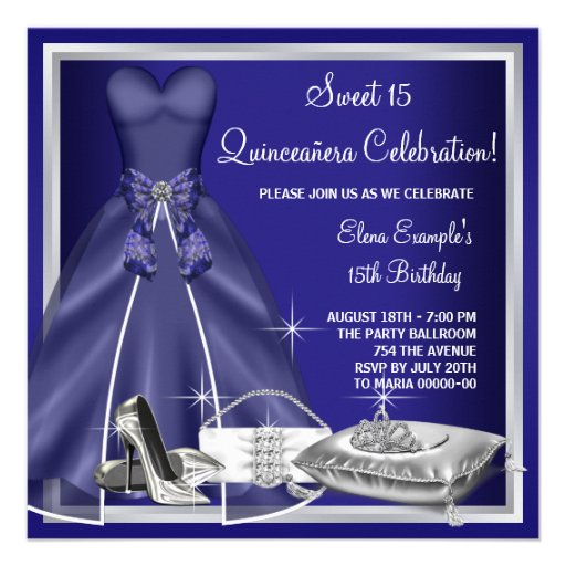 ball gown high heels royal blue quinceanera invitations - Royal Blue Quinceanera Invitations