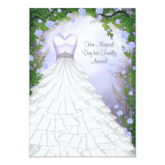 Ball Gown Party Dress Purple Rose Quinceanera Card