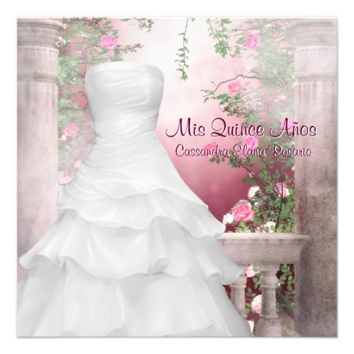 Ball Gown Pink Rose Quinceanera Invitations