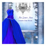 Ball Gown Royal Navy Blue Rose Quinceanera Invitations