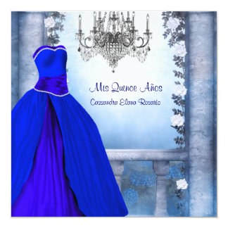 """Ball Gown Royal Navy Blue Rose Quinceanera 5.25"""" Square Invitation Card"""