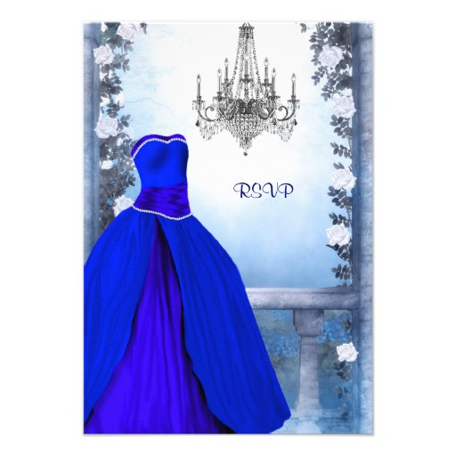 Ball Gown Royal Navy Blue Rose Quinceanera RSVP 3.5x5 Paper Invitation Card | Zazzle
