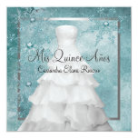Ball Gown Teal Blue Winter Snowflakes Quinceanera Personalized Invites
