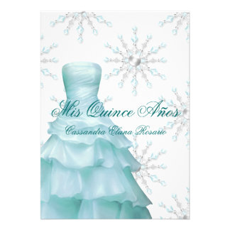 Ball Gown Teal Blue Winter Snowflakes Quinceanera Personalized Invitation