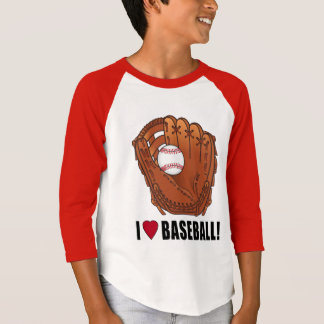 Ball In Glove I Love Baseball T-Shirt