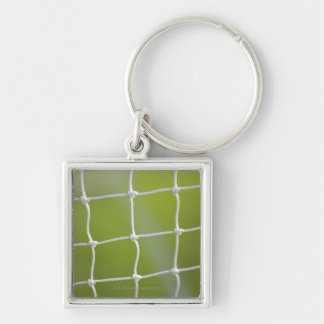 Ball in Net Silver-Colored Square Keychain