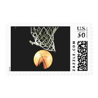 Ball & Net Basketball Postage Stamp