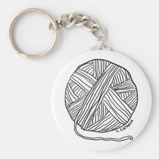 Ball o' Yarn Basic Round Button Keychain