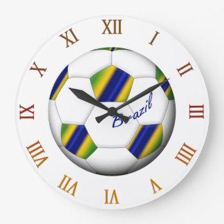 Ball of BRAZIL SOCCER with colors of the flag Large Clock