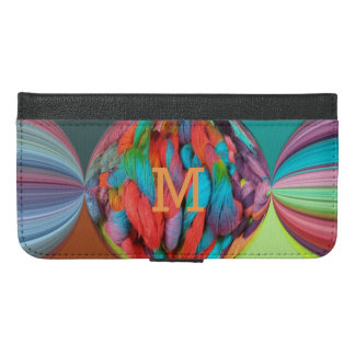 Ball Of Multi-Color Yarn Skeins w/Monogram Letter iPhone 6/6s Plus Wallet Case