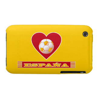Ball of soccer in heart and scarf of SPAIN iPhone 3 Cover