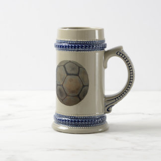 Ball of Vintage soccer in Blue Gray Jar/22 oz Beer Stein