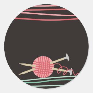 ball of yarn knitting crafts packaging gift sticke classic round sticker