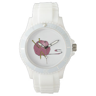 Ball of Yarn Knitting Needles Design Wrist Watch