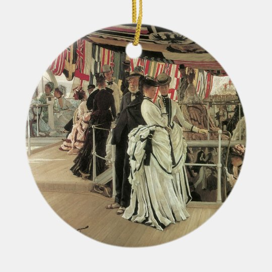 Ball on Shipboard by James Tissot Ceramic Ornament