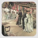 Ball on Shipboard by James Tissot Square Sticker