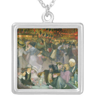Ball on the 14th July Square Pendant Necklace