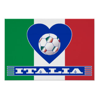 Ball on the heart and scarf of ITALY Poster