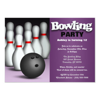 Ball & Pins Purple Bowling Birthday Party 5x7 Paper Invitation Card