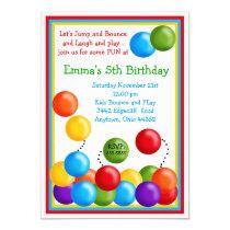 "Ball Pit, Bounce House, Birthday Invitations 5"" X 7"" Invitation Card"