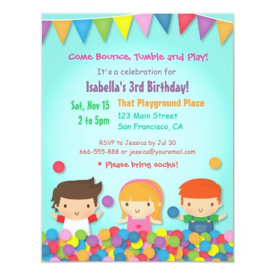 Bounce Play Gym Kids Birthday Party Invitations – Playground Birthday Invitations