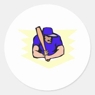 Ball Player Batter Classic Round Sticker