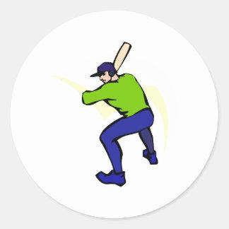 Ball Player Batting Classic Round Sticker