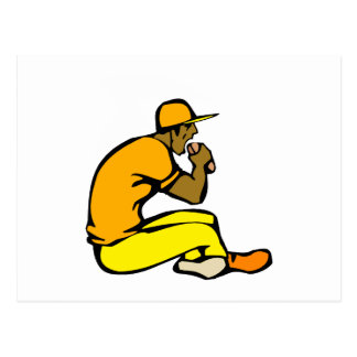 Ball Player Eating Hotdog Postcard