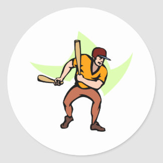 Ball Player with 2 bats Classic Round Sticker
