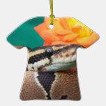 Ball Python, green background, orange rose Ornament