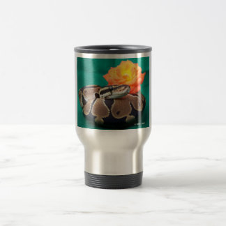 Ball Python, green background, orange rose Travel Mug