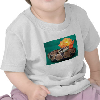Ball python picture with orange rose green back tee shirt