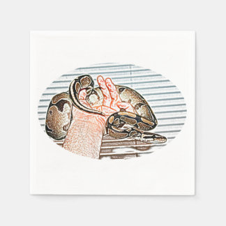 ball python snake sketch in hand reptile disposable napkin