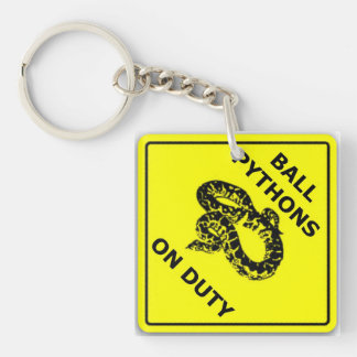 Ball Pythons On Duty Caution Sign Double-Sided Square Acrylic Keychain