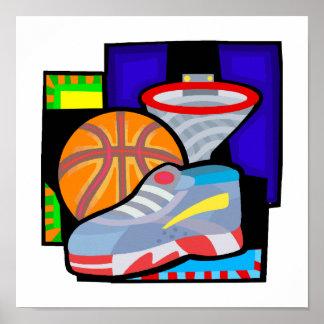Ball sneakers hoop poster